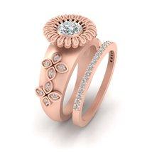 0.70cttw Diamond Bridal Wedding Set Rose Gold Engagement Ring Eternity Band Set - $1,759.99