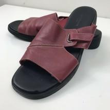Liz Claiborne Flex Sandals Burgundy Leather Buckle Straps Slipon Opentoe 10M - $29.69