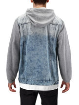 Men's Hooded Button Up Faded Denim With Jersey Sleeves Jean Trucker Jacket image 6