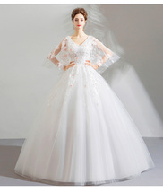 Wide Sheer Tulle Sleeve Beaded China Wedding Dress Pricess Bridal Gowns ... - $120.00