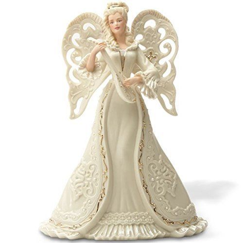Primary image for Lenox Angel Serenade Tree Topper Figurine Pierced Mandolin Blonde Christmas NEW