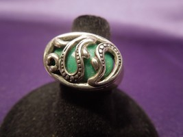 Sterling Silver Green Agate East West Raindrop Modern Ring Size 6-3/4 - $40.10