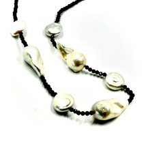 """18K YELLOW GOLD 18"""" 45cm NECKLACE FACETED BLACK SPINEL BIG DROP DISC PEARLS image 2"""