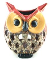 CHARMING LARGE OWL TEA LIGHT CANDLE HOLDER CERAMIC HOME DECOR NEW   - $55.00