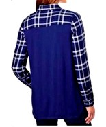 G.H. Bass Co  Women's Woven Button Down Plaid Knit Shirt Top Navy or Whi... - $22.79