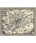 """1928 Pictorial Country Bus-Services Map, London and Vicinity Poster 11""""x14"""" - $12.38"""