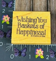Stampin' Up! Wishing You Baskets Of Happiness Rubber Stamp 1996 Wood Print #J98 - $2.23