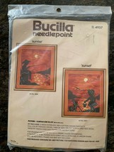 Vintage SEALED Bucilla CREWEL 4937 Sunset Needlepoint Kit Girl Beach Sunrise - $40.00