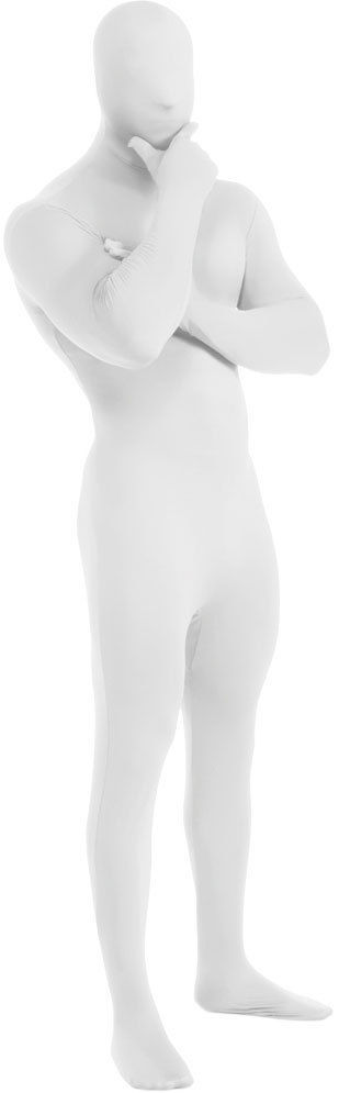 Zentai-Anzug Kostüm 2. Hautanzug Elasthan Body Halloween Weiß Man