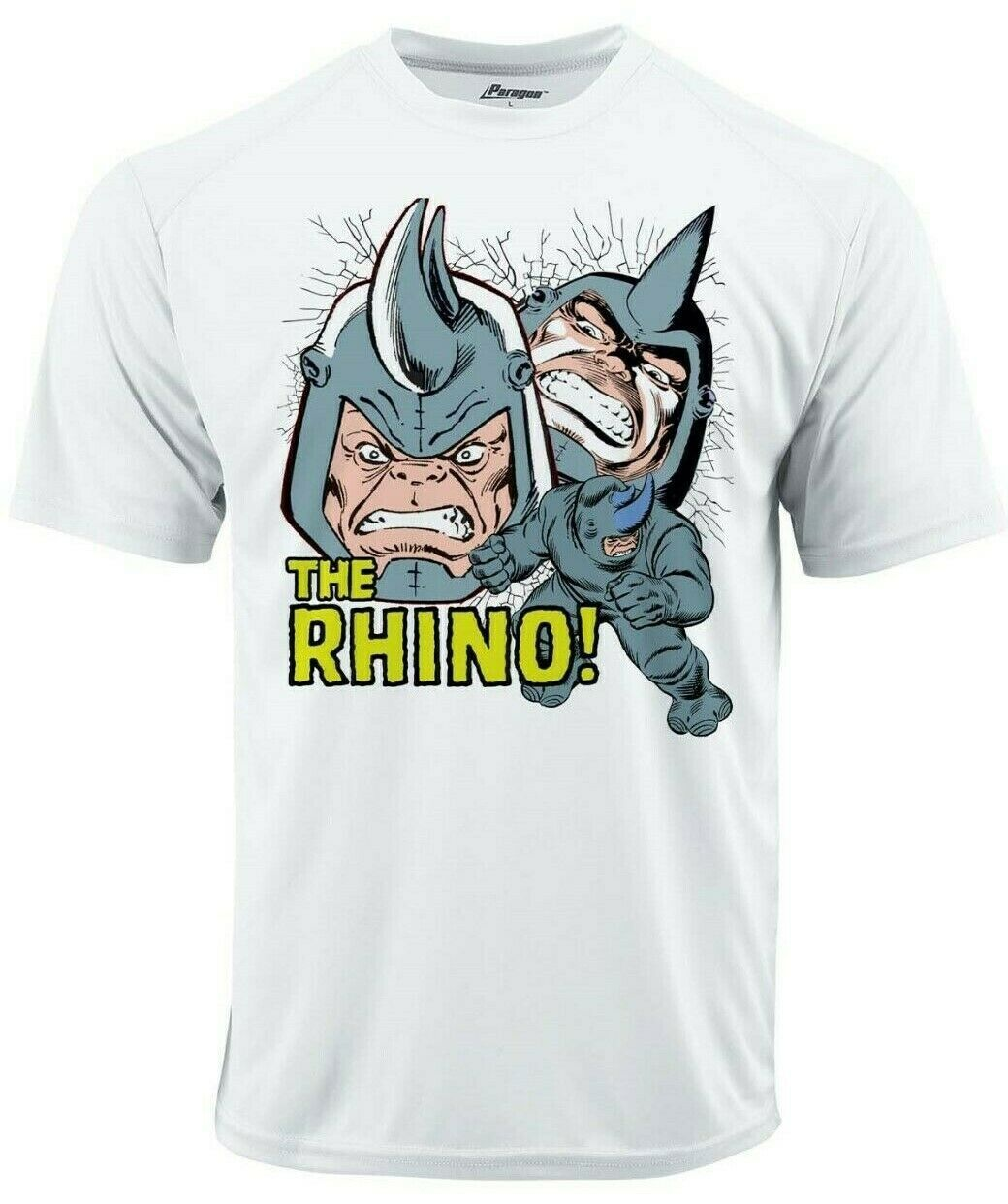 Rhino crack dri fit graphic tshirt moisture wicking superhero comic book spf tee white