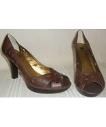 CAROLE LITTLE Brown Leather Peep Toe Pump Heel Shoes Size 9 M , Used No ... - $9.89