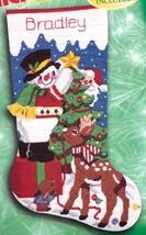 Bucilla Santas Helpers Snowman Deer Longstitch Needlepoint Stocking Kit 60774 - $156.95