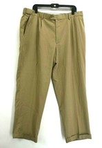 George Men's 40 x 30 Button Front Pleated Front Cuffed Dress Pants Tan - $14.99