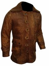 Mens Bane Dark Knight Rises Tom Hardy Fur Shearling Brown Leather Coat image 2