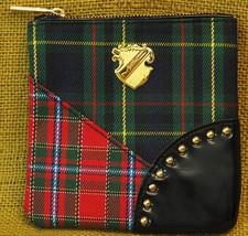 MAC Cosmetics Makeup Bag Tartan Red/Green/Black Plaid Small Coin Purse 5... - $19.70