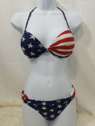 Xhilaration Q Junior Girls  2 Piece American Flag Bikini Medium Top