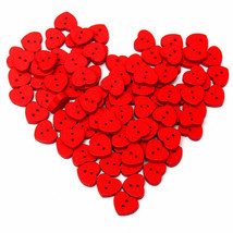 100pcs Wooden Red Heart-shape Sewing Buttons DIY Craft Baby Clothes Hat ... - $6.46