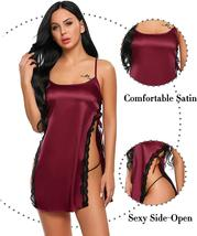 Womens Satin Babydoll Lace Side Slit Nightgown Set image 3