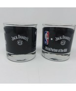 Jack Daniels NBA Partner Black Glasses Whisky Low Ball Old # 7 Bar Teams... - $12.16