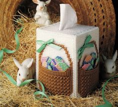 Plastic Canvas Easter Egg Tissue Cover Flowers Basket Jewelry Sewing Kit... - $9.99