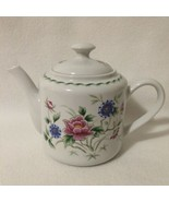 Andrea by Sadek Spring Night Teapot White w/ Pink & Purple Flowers 4 Cup... - $32.00