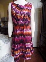 CALVIN KLEIN Printed Cotton Blend  Sleeveless Sheath Dress 12 - $19.79