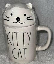 """Rae Dunn KITTY CAT Coffee Mug CUP with White Cat Head Topper New 7"""" - $21.99"""