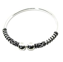 Antique style Real 925 Sterling Silver women's Bracelet Bangle armlet 5.5Cm - $33.25
