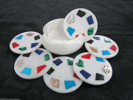Marble White Coffee Coasters Rare Gem Mosaic Inlay Semi Precious Stone Art Gift - $120.55