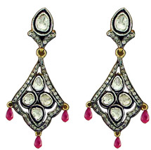 .925 Sterling Silver Vintage Inspired Rose/Antique Cut Diamond Polki  Ea... - $488.75
