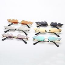 Vintage Rimless Flame Sunglasses Women Metal Steampunk Frameless Trend Cat Eye S image 6