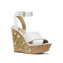 Michael Kors Lacey Gold Butterfly White Leather Strappy Platform Wedges 10 NIB - $123.26