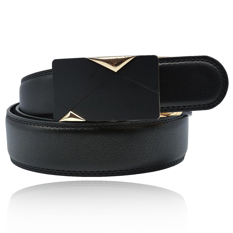 Men's Genuine Leather Ratchet Belt With Automatic Sliding Buckle - Black