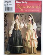 Simplicity 3809 N Renaissance Costume Skirt Vest 10 12 14 Sewing Pattern... - $14.95
