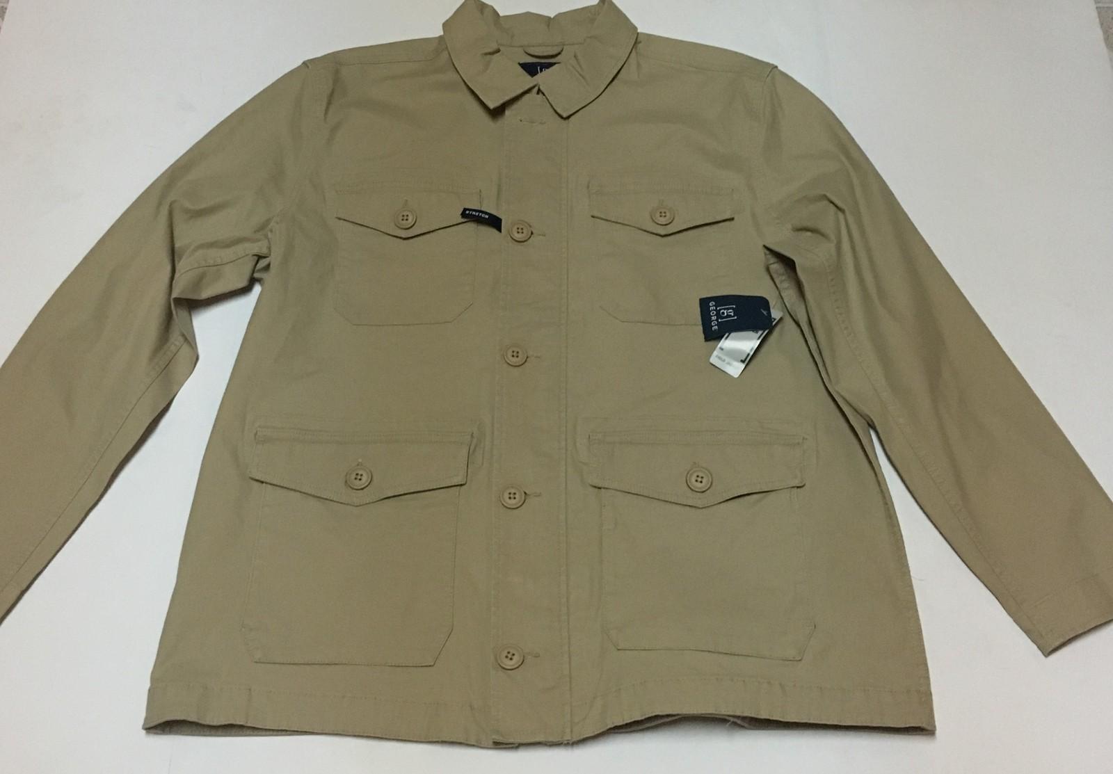 Men's Beige Field Jacket Full Front Zipper Button Down Stretch Sz XL (46-48) NWT