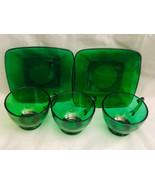 Anchor Hocking Emerald Forest Green Cups Saucers Lot of 3 Coffee Cups 2 ... - $26.77