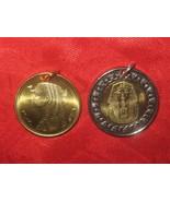 EGYPTIAN EGYPT GOLD SILVER TONE 1 KING TUT 1 CLEOPATRA COIN PENDANT CHARM - $8.90