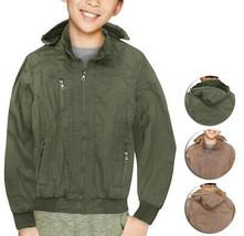 Boy's Sherpa Lined Removable Hood Juniors Youth Kids Cotton Zipper Sahara Jacket