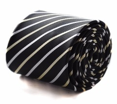 Frederick Thomas black with yellow and white striped men's tie FT617