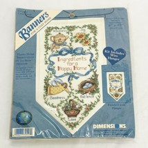 Vintage Dimensions Cross Stitch Kit Hanging Banner Happy Home Ingredients 72557  - $18.97