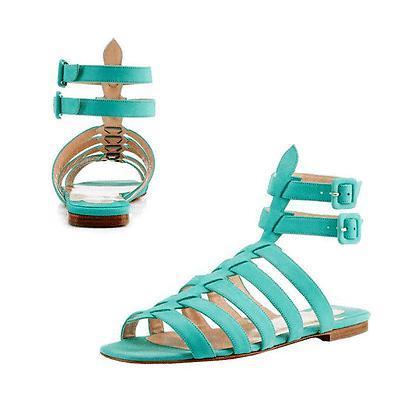 ff43838ff48 2823. 2823. Previous. Christian Louboutin Blue Neronna Gladiator Nubuck  Leather Sandals Flat Shoe ...