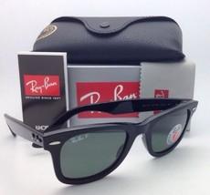 New Ray-Ban Polarized Sunglasses RB 2140 901/58 50-22 WAYFARER Black Frame/Green