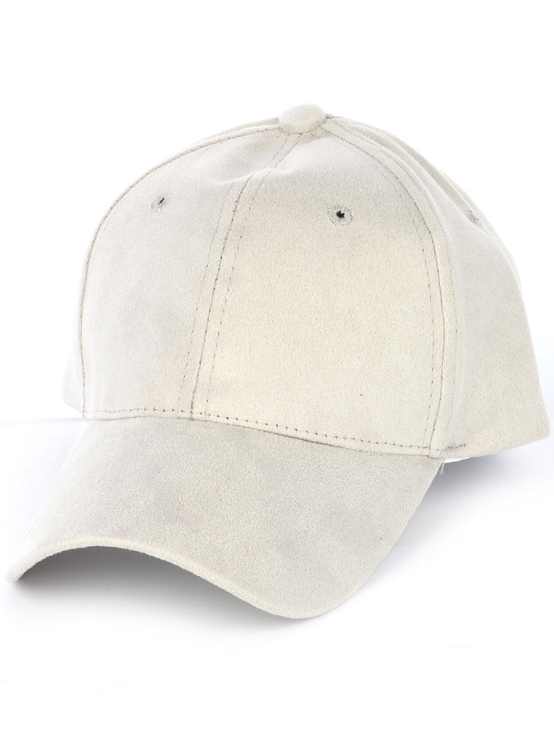 Solid Colored Baseball Cap Fashion Hat - Faux Suede Gray