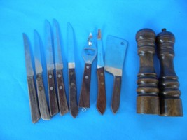 MIXED LOT OF 8 KITCHEN UTENSILS AND WOOD SALT & PEPPER SHAKERS SET OF 2 - $18.69