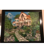 KELLY FAWAZ AUTHENTIC ACRYLIC CANVAS ORIGINAL PAINTING THE DREAM HOUSE - $241.88