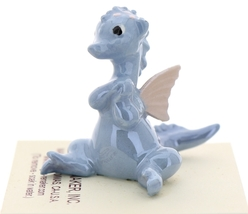 Hagen-Renaker Miniature Ceramic Dragon Figurine Baby Blue with Pink Wings image 4