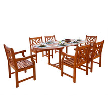 Malibu Eco-Friendly 7-Piece Wood Outdoor Dining Set V144SET7 - $1,113.44