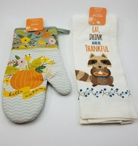 Kitchen Oven Mit & Dish Towel- Eat, Drink and be Thankful! Raccoon. Fall... - $11.61