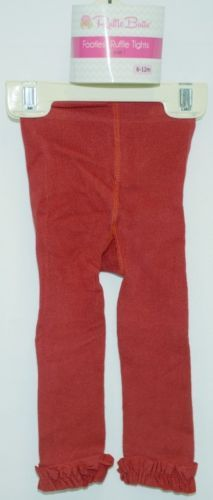RuffleButts RLKRD060000 Red Ruffled Footless Tights Size 6 to 12 Months