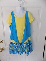 JUSTICE BLUE/YELLOW FLORAL PRINT RUFFLE DRESS SIZE 10 GIRL'S EUC - $14.82